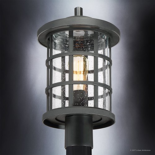 Luxury Craftsman Outdoor Post Light, Medium Size: 17.25''H x 10''W, with Tudor Style Elements, Wrought Iron Design, Natural Black Finish and Seeded Glass, UQL1046 by Urban Ambiance by Urban Ambiance (Image #4)