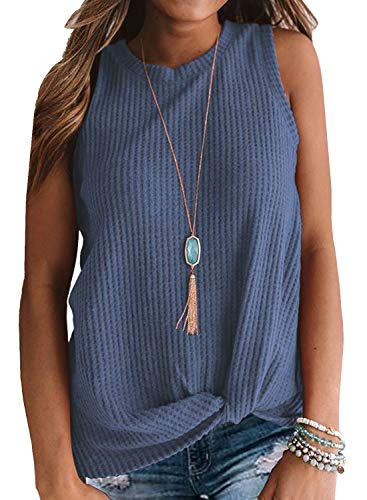MIHOLL Womens Casual Tops Sleeveless Cute Twist Knot Waffle Knit Shirts Tank Tops (Small, Blue)