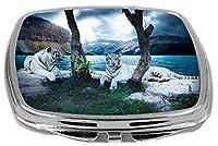 Rikki Knight Compact Mirror, White Tigers
