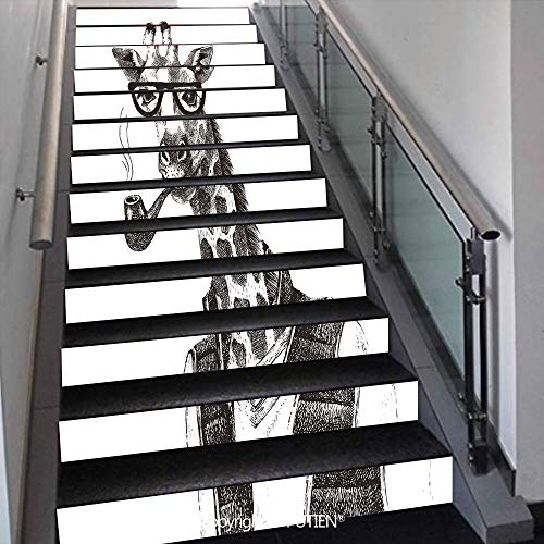 PUTIEN American Stair Stickers Wall Stickers,13 PCS Self-Adhesive [ Quirky Decor,Giraffe Smoking Pipe Dress -