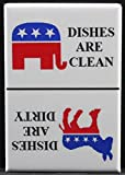 Democrat & Republican CLEAN / DIRTY Sign - Dishwasher Magnet. Election GOP Donald Trump