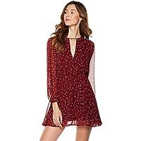 Plumberry Women's Deep V-Neck Long-Sleeve Dress