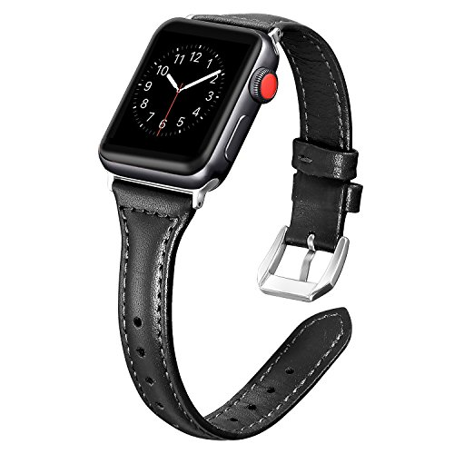Secbolt Leather Compatible Apple Watch Band 42mm 44mm Black Slim Replacement Retro Wristband Sport Strap for Iwatch Nike+, Series 4 3 2 1, Edition Stainless Steel (Womens Slim Black Leather)