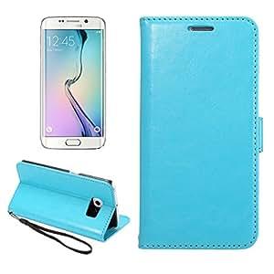 Galaxy S6 Edge Funda, MOONCASE Carcasa Cuero Tapa Cover para Samsung Galaxy S6 Edge Bookstyle Cartera Case con Función de Soporte Azul