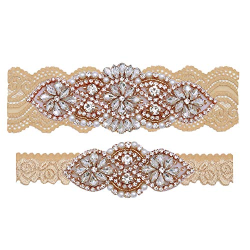 Yanstar Bridal Garter Champagne Stretch Lace Bridal Garter Sets With Rose Gold Rhinestones For Wedding