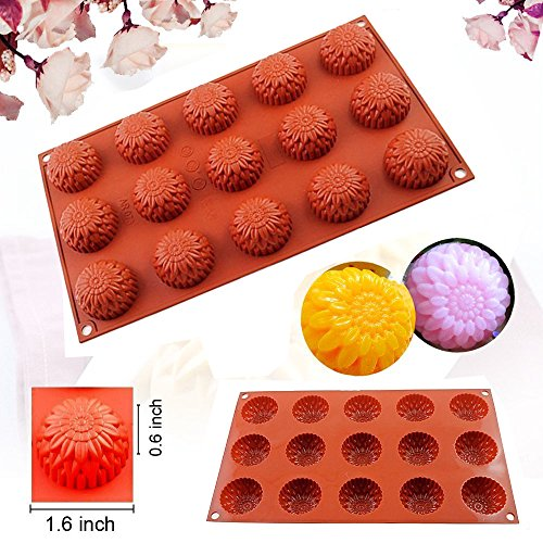 DiDaDi 15 Cavity Food Grade Silicone Non Stick Flowers Cake Bread Mold for Thanksgiving Chocolate Soap Candy Baking Muffin Bakeware Mold (Flower)
