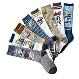 Celine lin Boy's Cartoon Car Pattern Casual Socks Soft Knee-Socks,8-Pair