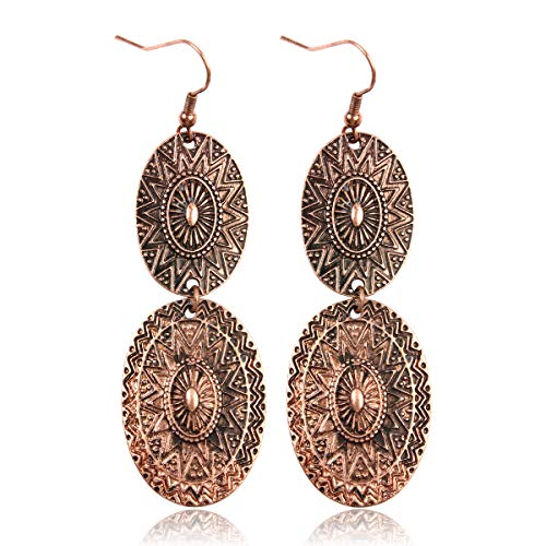 (RIAH FASHION Bohemian Vintage Coin Mandala Circle Drop Earrings - Moroccan Ethnic Hook Dangles Round Metallic Disc/Aztec Shield Chandelier Tassel (Oval - Copper))