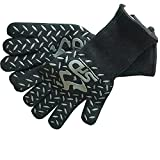 Cooking Gloves Heat Resistant - SPD 932°F Extreme High Heat BBQ Grill Gloves Temperature Protection, Oven Mitts, Welders Kevlar Aramid Oven Gloves, Big Green Egg Grill Mitts (Long Cuff, Black)