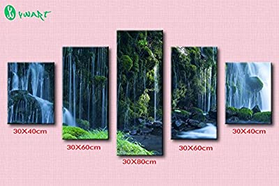 Link Line 5Pcs Hot Print Oil Paintings Waterfall Landscape Picture Canvas Painting On Wall Pictures For Living Room Home Decor