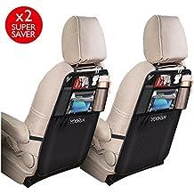 2 Pack Kick Mats Car Backseat Organizer, Storage Pocket, Waterproof Seat Back Protector for iPad / Tablet Holder by YOOFAN