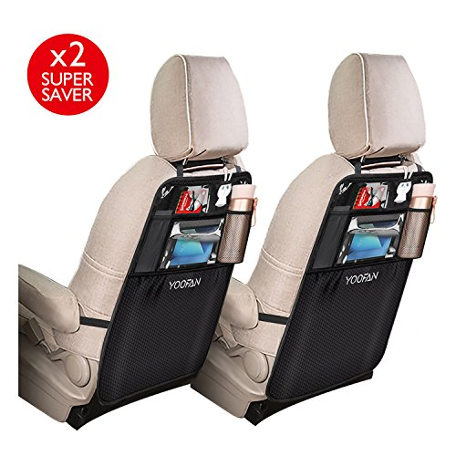 2 Pack Kick Mats Car Backseat Organizer, Storage Pocket, Waterproof Seat Back Protector for iPad / Tablet Holder by YOOFAN (Car Window Organizer)