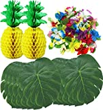 PeeNoke 38 Pieces Luau Hawaiian Tropical Jungle Party Decoration Set Including 12 13-inch Tropical Palm Simulation Leaves, 24 Silk Hibiscus Flowers, and 2 13.5-inch Tissue Paper Pineapples