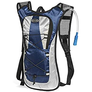 Hydration Pack - Ultra Lightweight! - Minimalist Backpack and 2L Water Bladder/Bottle. Perfect for Camping, Hiking, Running, Cycling, Fishing, Hunting, Fun/Mud Run. 1 Year Hassle-Free Warranty. (Blue)