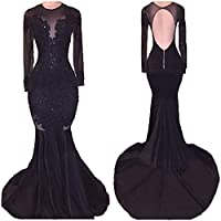 SOB Women's Mermaid Prom Dress Long Sleeve Backless Appliques Evening Party Gowns Long 2018 SOB211