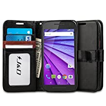 Motorola G (3rd Generation) Case, J&D [Stand View] Moto G 3rd Generation Case Wallet Case [Slim Fit] [Stand Feature] Premium Protective Case Wallet Leather Case for Moto G (3rd Gen, 2015) (Black/Brown)
