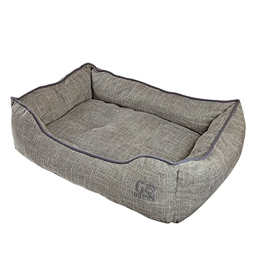 Bed Luxury Donut Dog (GOBUDDY Square Pet Bed for Cats & Dogs - Ultra Soft & Comfortable Cuddler Pet Bed - Reversible Removable Linen Cushion Prevents Overheating - Improves Sleep for Small, Medium & Large Animals)