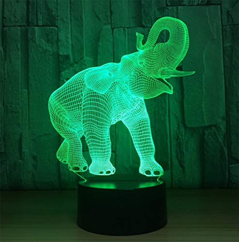 Novelty Lamp, Night Light 3D Child USB Charging Optical Illusion Elephant LED Lamp, Color Change 5 Color for Bedroom, Kids Room, Coffee Table, Christmas Decoration and Lover Gift,Ambient Light by LIX-XYD (Image #1)