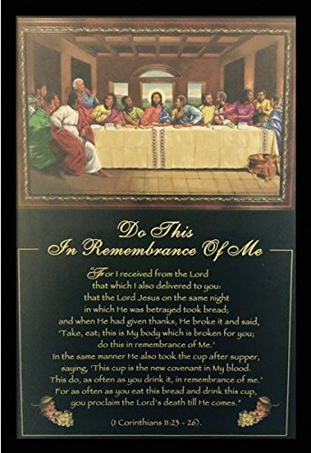 US Art Do This, In Remembrance Of Me (Religious - Last Supper) - Johnny Myers 24x36 Black Framed - African American Black Art Print Wall Decor Poster #
