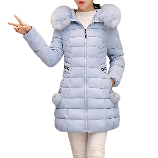 c7b7a8886 MODOQO Women's Winter Warm Parkas Coat with Fur Collar Hooded Slim Overcoat