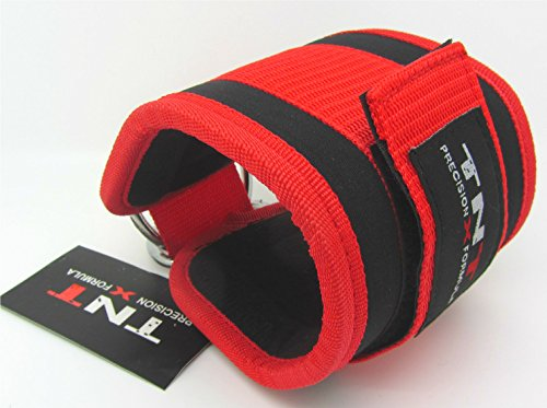 Ankle Foot Strap (RED) Neoprene Double Rings Sold Single, Cable Gym Machine Attachment, Leg Foot Exercise, Yoga,Pilates…