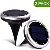HIWILL Outdoor Solar Lights, Light Sensor Solar Powered Lights - 8 LED Waterproof Bright Solar Lights for Garden, Yard, Stair or Driveway - 2 Pack / Silve