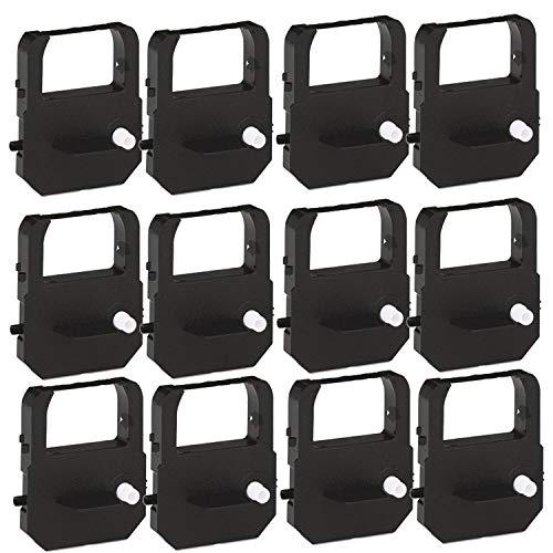 12 Pack Gorilla Supply Time Clock Ribbons Replacement for VIS6008 Ribbon Acroprint 39-0121-000, 900E 1000E 1500E 5000EP 7000E 7500E (Black)