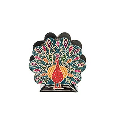 Tzedakah Charity box Handmade of Tooled Leather. The Peacook is beautiful saturated with color and rich design. Size 5.00 inch high. 4.75 inch long and 1.5 inch wide.: Home & Kitchen