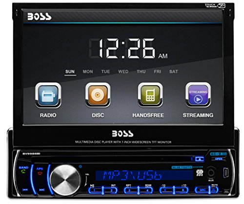 BOSS AUDIO BV9986BI Single-DIN 7 inch Motorized Touchscreen DVD Player Receiver, Bluetooth, Detachable Front Panel, Wireless - Cars Parts