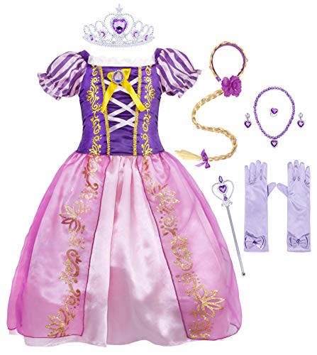 AmzBarley Rapunzel Dress for Girls Costume Party Outfit Toddler Princess Cosplay Halloween Role Play Preschool Dress Up Birthday Party Dress up Clothes with Wig and Accessories Size 4T(3-4Years)