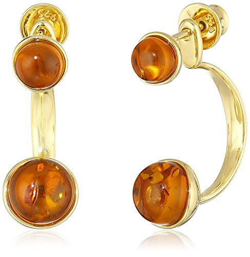 Amber Gold Plated Ring - Gold Plated Sterling Silver Honey Amber Round BackToFront Omega Dangle Earrings