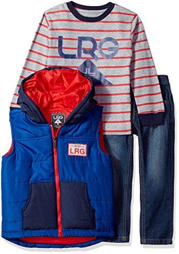 Lrg Cotton Vest (LRG Little Boys' Vest, T-Shirt and Pant Set (More Styles Available), Gibson Blue, 7)