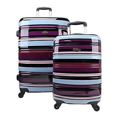 Swiss Case - Juego de 2 maletas (rígidas, 4 ruedas), diseño de rayas, color morado