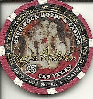 $5 hard rock 2001 jane's addiction obsolete las vegas casino chip