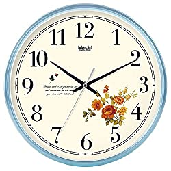 Modern Stylish Elegant Silent Non-ticking Metal Round Wall Clock, Simple Creative Wall Clock For Living Room Bedrooms Office Kitchens, Operated By Battery (Color : Blue, Size : 8 inch)