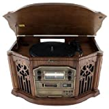 Emerson Heritage NR305TT Home Stereo System with 3 Speed Turntable, AM/FM Receiver, CD / Cassette Player and Built-in Speakers