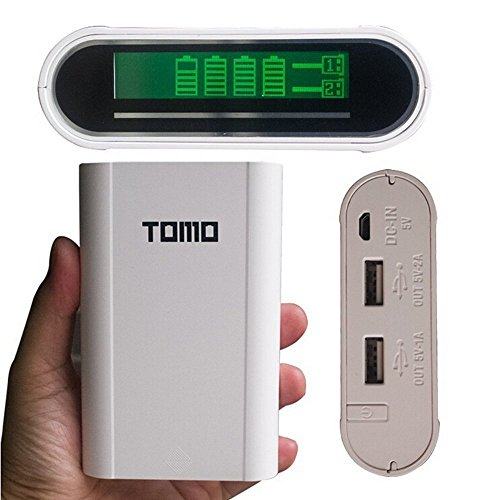 Skyfall Tomo V8-4 Portable Extra LCD Display 18650 Rechargeable USB Battery Charger Power Bank with 4 Slots For iPhone Samsung HTC iPad (Not Include 18650 Battery)- White