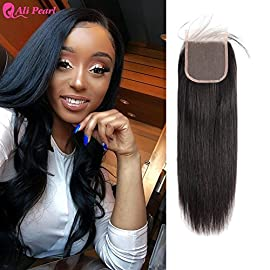 Ali Pearl 4×4 Lace Closure Unprocessed Brazilian Straight Human Hair Bundles with Lace Closure