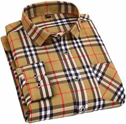 Men Clothing VITryst-Men Slim Fitting Plaid Brushed Buttoned Warm Fleece Lined Shirts