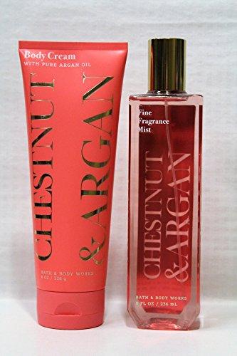 Cream Body Amber (Bath & Body Works ~ Chestnut & Argan ~ Fine Fragrance Mist 8 fl oz & Body Cream 8 oz ~ Gift Set ~ New 2017)