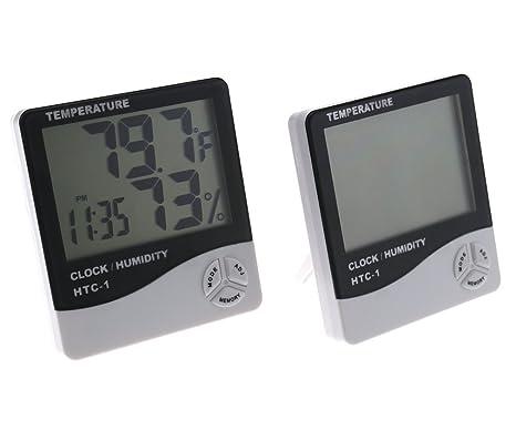 2 interior/exterior Digital LCD Termómetro Reloj Temperatura Humedad Meter tiempo