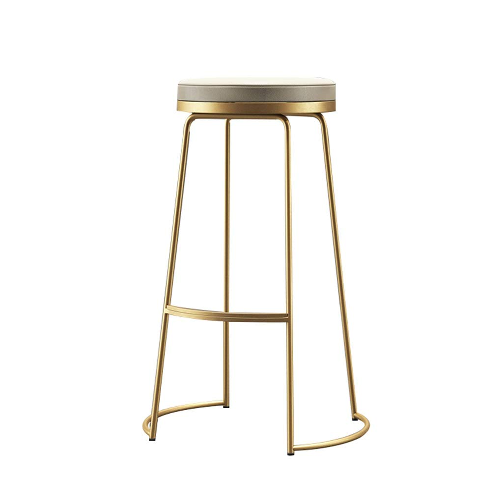 gold 65CM Barstools Chair Bar Stool High Stool Breakfast Chair Dining Room and PU Seat Kitchen Breakfast Counter Greenhouse Cafe Bar (Multicolor) (color   White, Size   65CM)