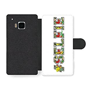 #Selfie Quote with Cool Text Peek Effect Cute and Style Design Faux Leather case for HTC One M9 by ruishername