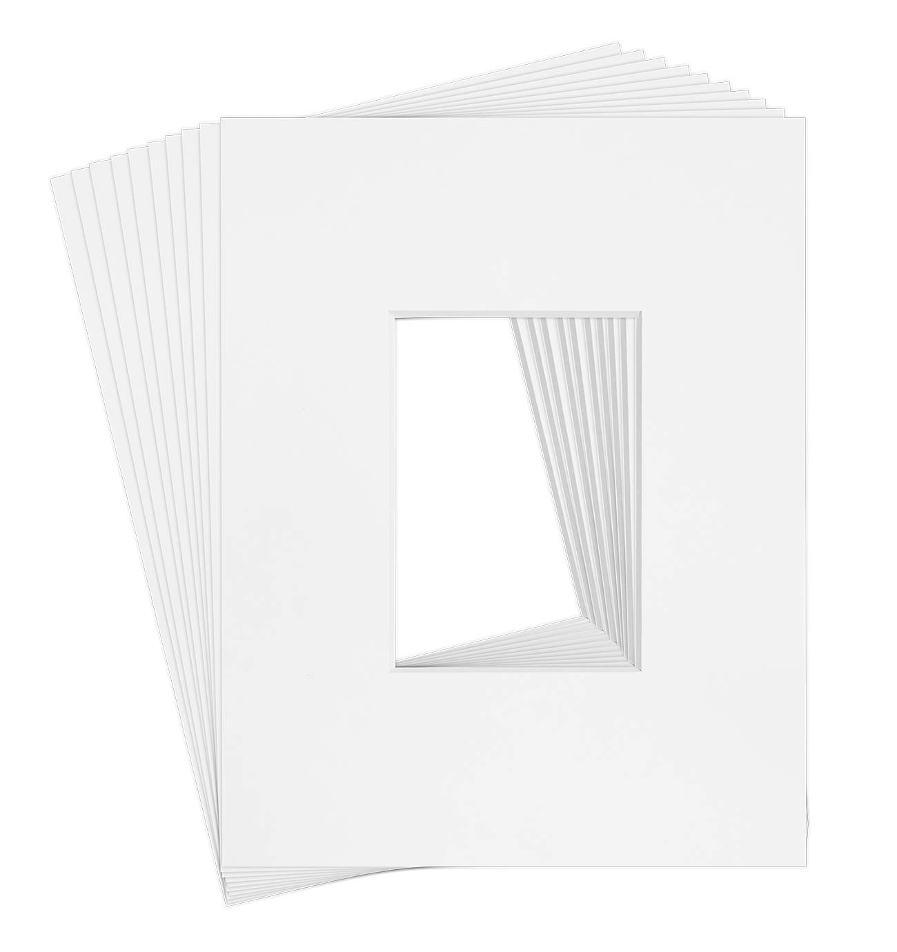 10 11x14 8-ply White Picture Mats for 5x7 Photo Picture by Golden State Art