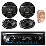 Pioneer DEH-S4000BT Car Bluetooth Radio USB AUX CD Player Receiver - Bundle With 2x TSA1676R 6.5'' 3-Way Speakers - 2 x TS-A6966R 6''x9'' 3-way Speakers + Enrock 50Ft 18 Gauge Speaker Wire