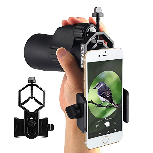 Fantronics Cellphone Adapter Mount Telescope Microscope Camera Holder, Compatible with Binocular Monocular Spotting Scope, for iPhone Sony Samsung Moto Etc -Record The Nature of The World from Fantronics