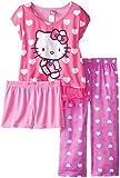 Hello Kitty Big Girls' All Over Hearts 3-Piece Pajama Set