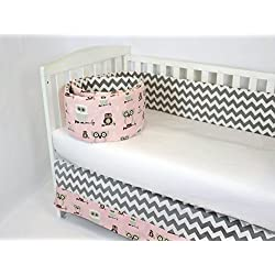 CRIB BEDDING SET FOR,BABY GIRL,PINK SWEET OWLS & GREY CHEVRON CONTRAST,(BUMPER AND CRIB SKIRT),SO SWEET (NEW ITEM),BY ROCKINGHAM ROAD,MADE IN THE USA.