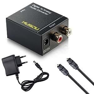 Musou DAC de Audio Convertidor Digital Analógico Óptica o Coaxial a RCA Adaptador Toslink y SPDIF to R / L