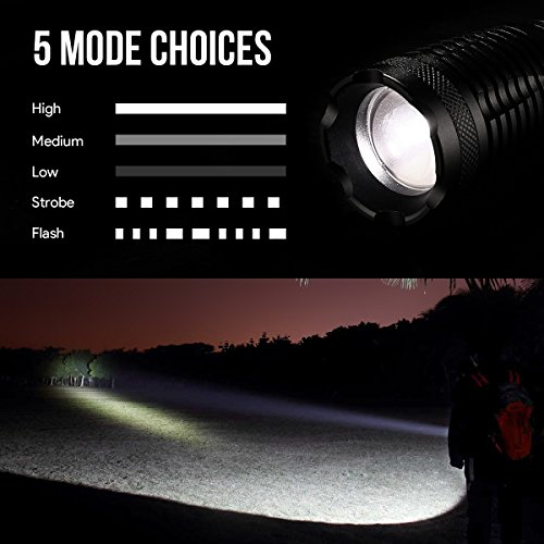 LE-1000lm-LED-Tactical-Flashlight-Rechargeable-XM-L2-T6-Portable-Zoomable-5-Light-Modes-10W-18650-Battery-and-Charger-Included-Water-Resistant-Camping-Torch-LED-Handheld-Flashlight-UL-Listed